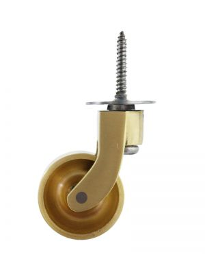 Satin Brass Screw Castor 32mm