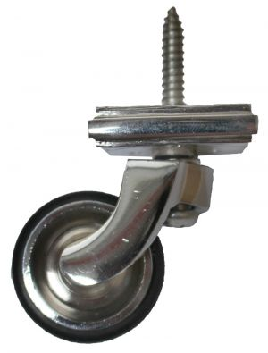 Chrome Screw Castor with Rubber Wheel and Round Embellisher 32mm