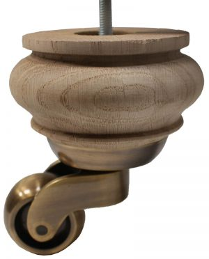 Saskia Solid Oak Furniture Legs With Extra Large Antique Shallow Cup Castors