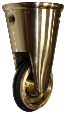 Vintage Brass Round Cup Castor with Rubber Tyre